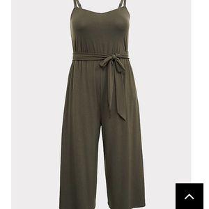 Torrid- Dark olive culottes romper/jumpsuit